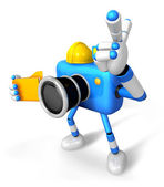 Engineer Blue Camera Character on the left hand Holding in folde — Stock Photo