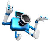 Pędzi ku po lewej stronie znaku niebieski aparat. creat — Zdjęcie stockowe