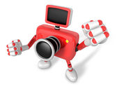 A Red Camera Character and a boxing play. Create 3D Camera Robot — Stock Photo