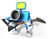 To the Left toward the Blue Camera Character playing the guitar. — Stock Photo