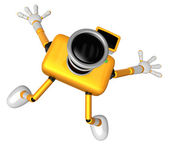 The Yellow Camera Character in Dynamic photos of the jump shot c — Stock Photo