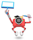 The left hand Holding the board Teacher Red Camera Character. Th — Stock Photo