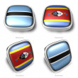Royalty-Free Stock Photo: Botswana and Swaziland 3d metallic square flag button