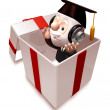 Stock Photo: 3d old doctor being in gift box