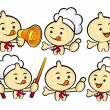 Flexibility as possible a set of Cook Garlic Mascot. Food and Ma — Stock Vector #22193017
