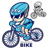 Man Mascot riding a mountain bike. Are going to travel by bicycl — Stock Vector