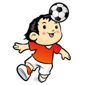 Soccer players mascot ball stunts Beak. Sports Character Design — Stock Vector