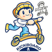 Entertain kids mascot riding Kickboards. Sports Character Design — Stock Vector