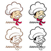 Flexibility as possible a set of Napolie Chef Mascot. Food and M — Stock Vector