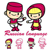 Men and women dressed in traditional costumes of Russia Rubashka — Stock Vector