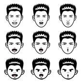 Various facial expressions of a man face Mascot Sets. Emotion Ch — Stock Vector