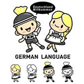 Men and women dressed in traditional costumes of Germany Lederho — Stock Vector