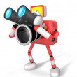Stock Photo: Red camerCharacter telescopes looking towards left. Create