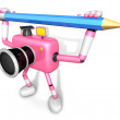 Pink camera with both hands holding a large pencil. Create 3D Ca — Stock Photo