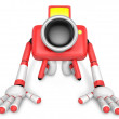 Stok fotoğraf: Red CamerCharacter kneel in prayer. Create 3D CamerRobot Ser