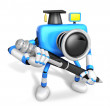 Blue Camera Character ballpoint pen a handwriting. Create 3D Cam — Stock Photo
