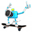 Sky Biue Camera Character skateboarding riding. Create 3D Camera - Stock Photo