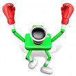 Green Camera Character Boxer Victory the serenade. Create 3D Cam — Zdjęcie stockowe