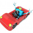 Driving red Convertible car in sky blue camerCharacter. Crea — Stock Photo #23228814