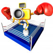 Blue CamerCharacter boxer takes pose in ring. Create 3D — Stock fotografie #23229482