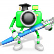 Royalty-Free Stock Photo: Green Camera Character ballpoint pen a handwriting. Create 3D Ca