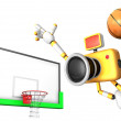 Yellow camera basketball player Vigorously jumping. Create 3D Ca — Stock Photo