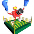 Red camercharacter jump in green ring. Create 3D CamerRobot — Stock fotografie #23229774