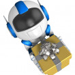 Blue robot character holding gift with both hands. Create 3D H — Stock Photo #23229804