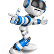 Blue robot character Pointing toward the front. Create 3D Humano - Stock Photo
