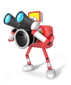 Red camera Character telescopes looking towards the left. Create — Stock Photo