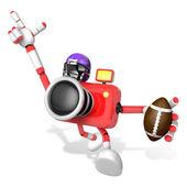 Amerikan futbolu kırmızı kamera karakteri oynamak. yaratmak 3d fotoğraf makinesi — Stok fotoğraf
