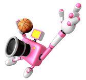 Vigorously jumping basketball player Pink Camera Character. Crea — Stock Photo