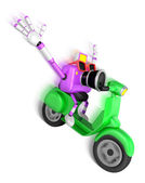 Purple camera character driving a motor cycle with fast speed. C — Stock Photo