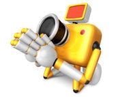 žlutá fotoaparát charakter klečet v modlitbě. vytvořit 3d fotoaparát robot — Stock fotografie
