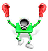 绿色相机字符的拳击手胜利小夜曲。创建 3d 凸轮 — 图库照片