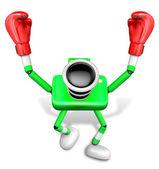 Yeşil kamera karakter boksör zafer serenat. 3d cam oluşturun — Stok fotoğraf