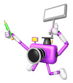 The left hand Holding the board Teacher Purple Camera Character. — Stock Photo