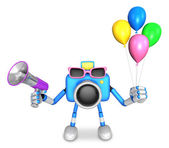 Blue camera character to the event activity. Create 3D Camera Ro — Stock Photo