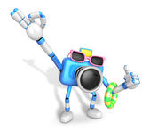 Blue Camera Character on their Vacation journey. Create 3D Camer — Zdjęcie stockowe