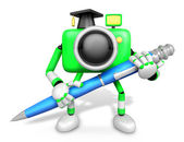 Green Camera Character ballpoint pen a handwriting. Create 3D Ca — Stock Photo