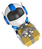 Blue robot character holding a gift with both hands. Create 3D H — Stock Photo