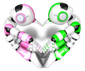 The heart in the form of body language. Create 3D Humanoid Robot — Stock Photo