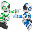Stock Photo: Blue robot and Green robot face each other point finger. Cre