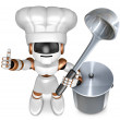 Brown robot the left hand best gestures, Right holding a ladle. — Stock Photo
