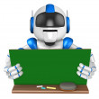 Stock Photo: Blue robot Character is holding blackboard with both hands. Cr