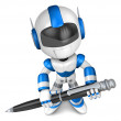 Blue robot Character ballpoint pen a handwriting. Create 3D Huma - Stock Photo