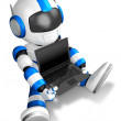 Blue Robot Character sitting on holding a laptop. Create 3D Huma - Stock Photo