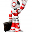 Wave down the Red robot character is carrying a bag. Create 3D H - Stock Photo