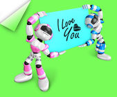Pink robot and a blue robot is holding a big board. Create 3D Hu — Stock Photo