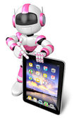 Pink robot Character fingers pointing to the tablet. Create 3D H — Stock Photo
